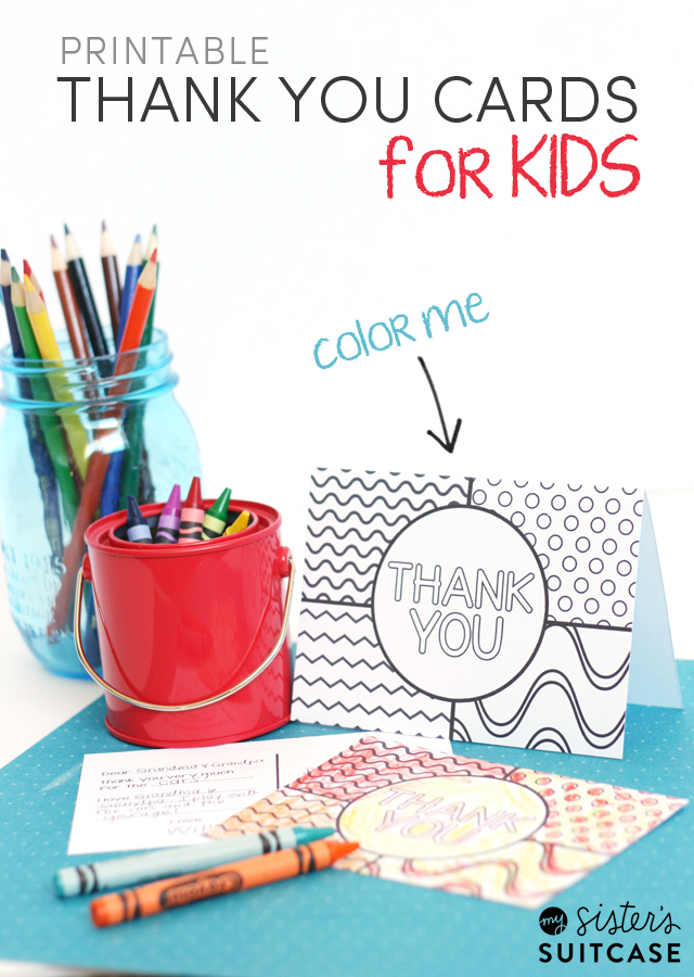 Printable Thank You Cards for Kids - My Sister\u0027s Suitcase - Packed