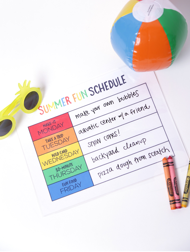 Printable Summer Schedule for Kids - My Sister\u0027s Suitcase - Packed