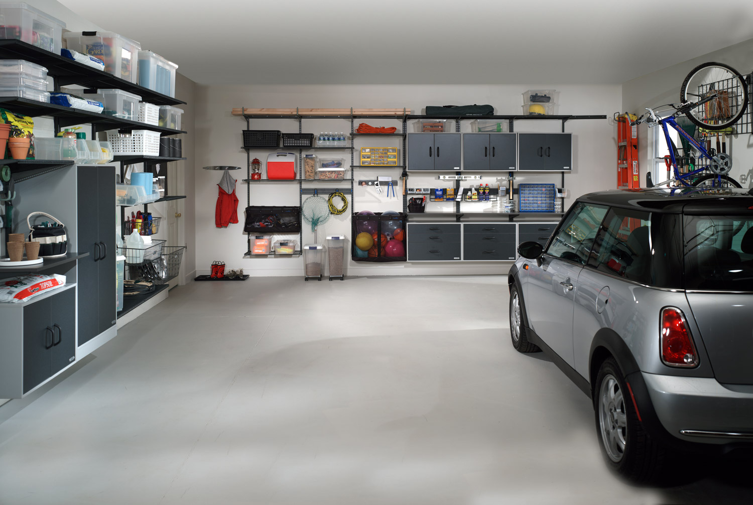 Garage Gym With Car Organized Living Garage Storage