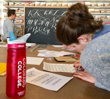 """Mikala CC workshop with local entrepreneurs """"Ladyfinger's Letterpress."""" GRL provides opportunities for CC students to learn and engage with artists outside the classroom. This spring GRL's Madelyn Santa will be interning in Paris with textile design studio."""