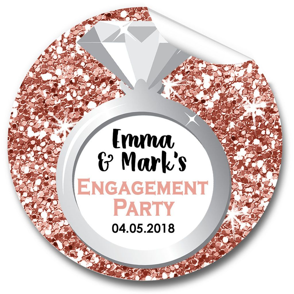 Personalised Sticker Ring Rose Gold Glitter Engagement Personalised Stickers 1xa4 Sheet