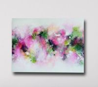 Pink and Green Abstract Canvas Print, Giclee Print, Large ...