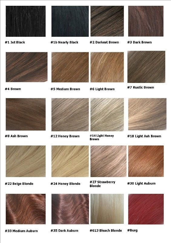 Remy Hair Extensions Colour Chart - hair color chart