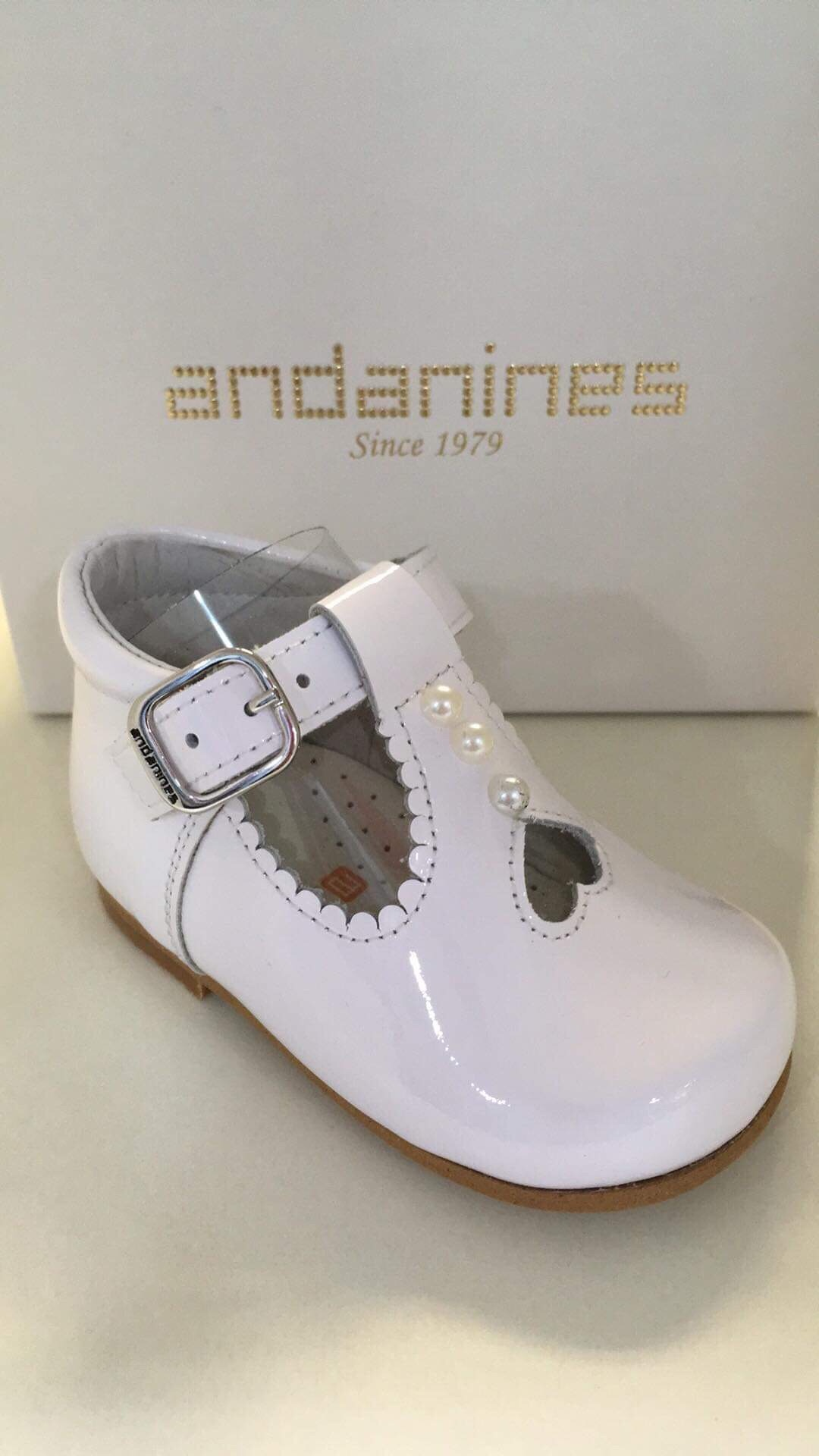 Baby Pram For Newborn Girls Andanines White Patent Shoes