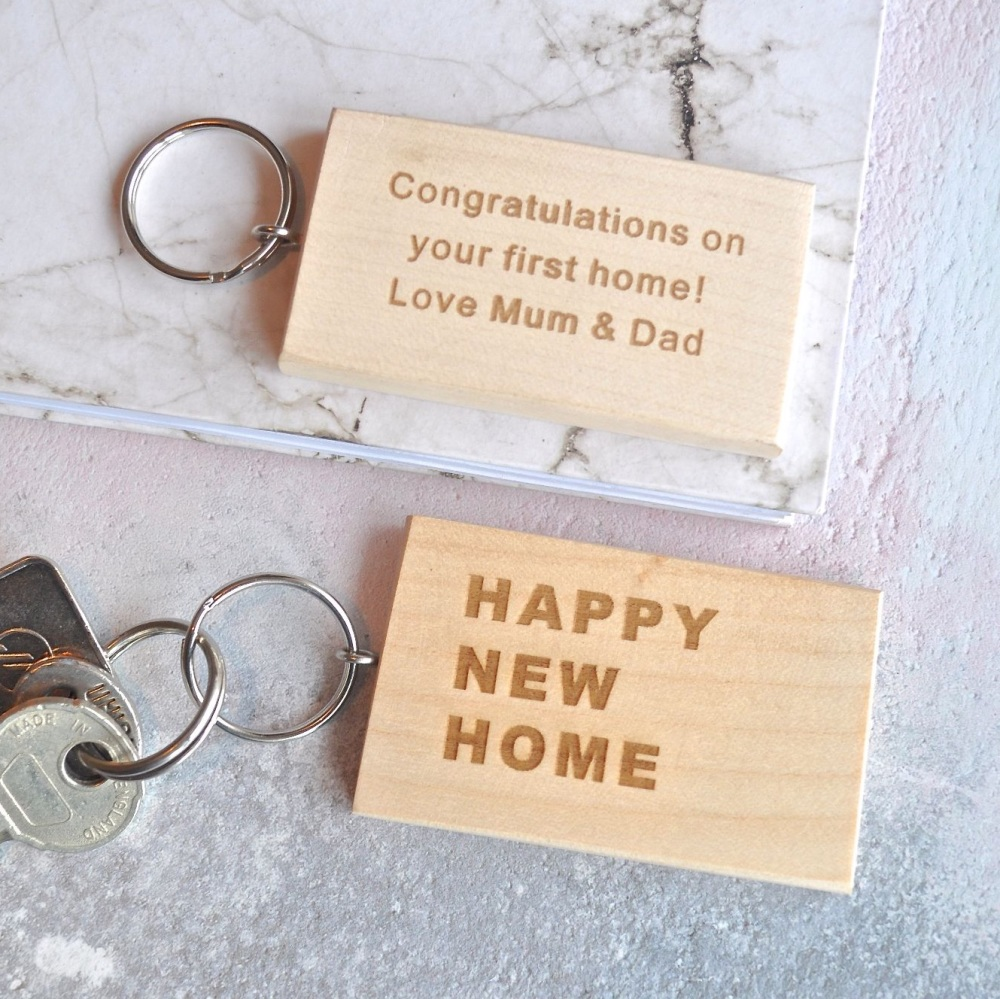 Personalised New Home Gifts Personalised Wooden New Home Keyring