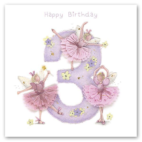 3rd Birthday Card Girl Fairy Birthday Card Happy