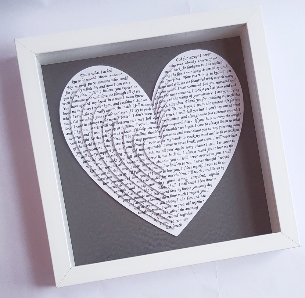 Large Frame Picture Large Frame Gift Layered 3d Hearts Sentimental Anniversary Gift 10 X 10 Inch Wedding Vows Song Lyrics Poem Or Reading