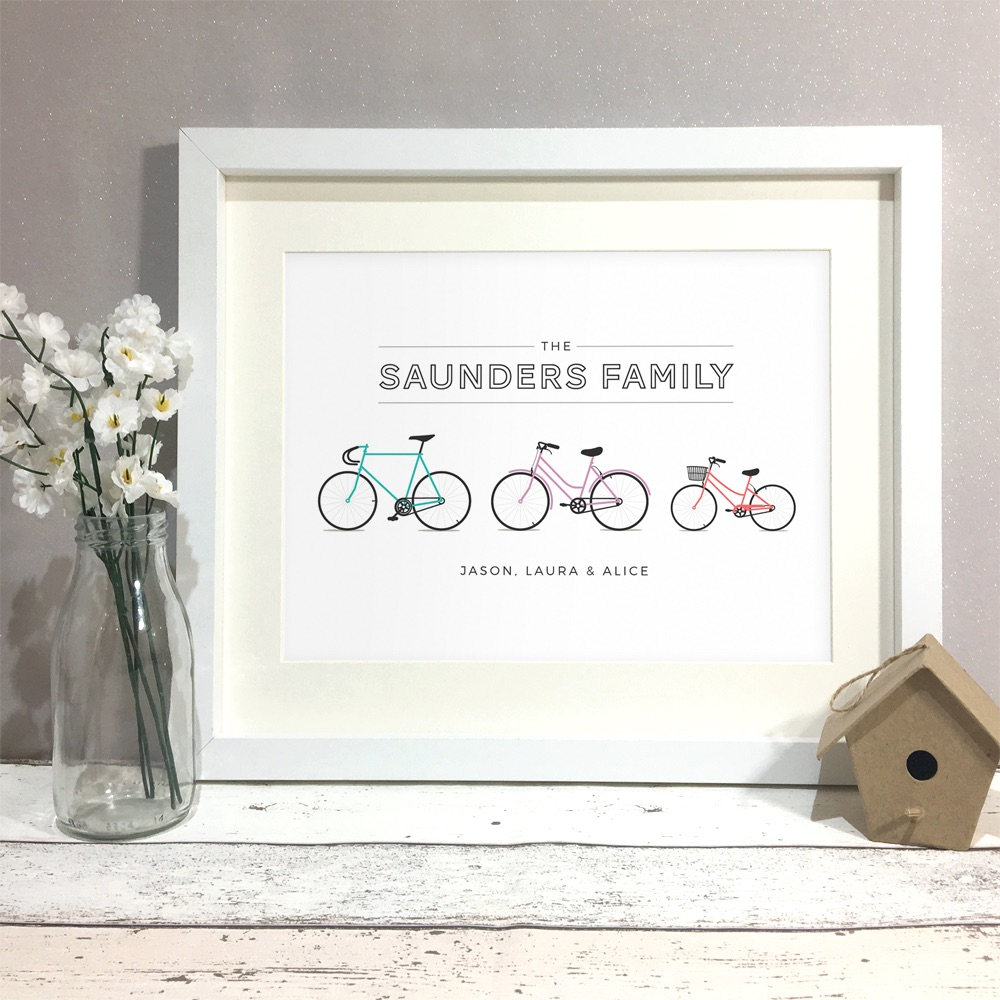 Personalised New Home Gifts Family Bikes Personalised Print