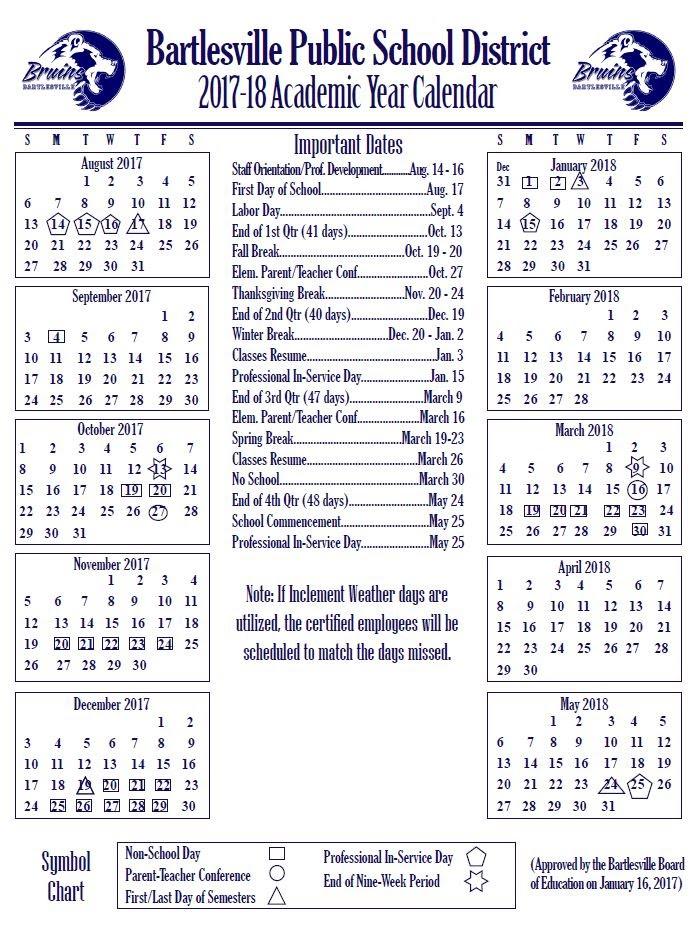Academic Year Calendar Updates - Bartlesville Public Schools