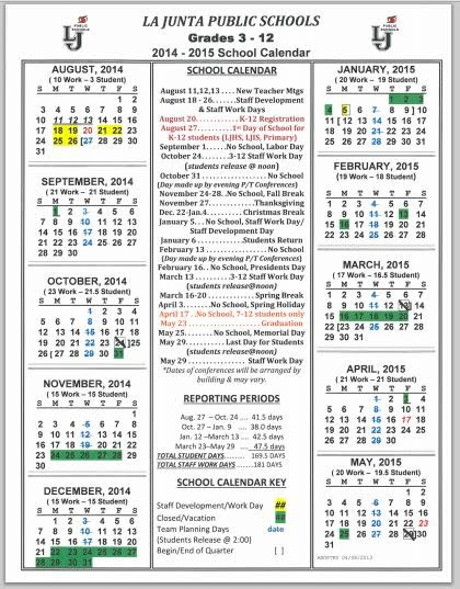 School Year Calendar - 2014/2015 - Tigers Online Program