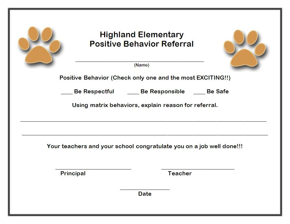 Forms - Highland Elementary Positive Behavior Support - office referral form