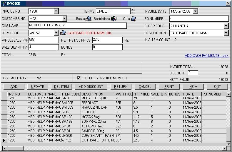 Invoice and Stock Control System - PCS Customer Service Center