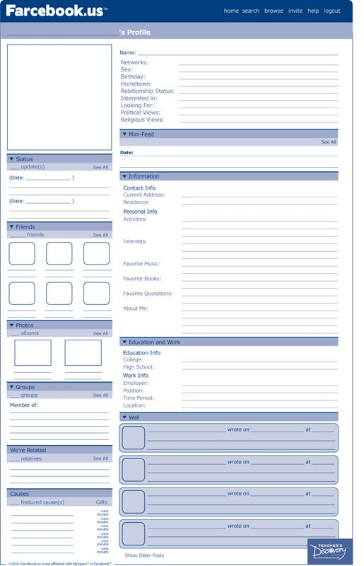 facebook profile template for word