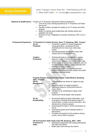 Radio  TV Presenter CV Template - Template Curriculum Vitae - example of curriculum vitae