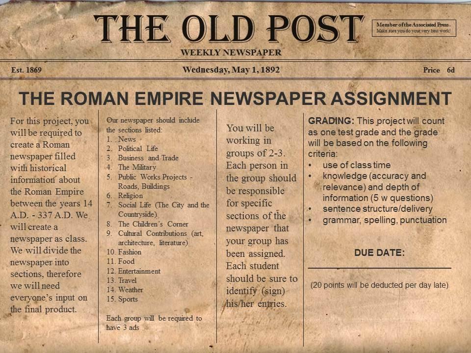 Roman Newspaper Articles - Mrs Williams 6th grade Humanities