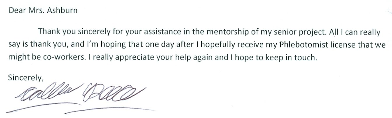 Thank You Letter To my Mentor - Caleb Reece-Senior Project