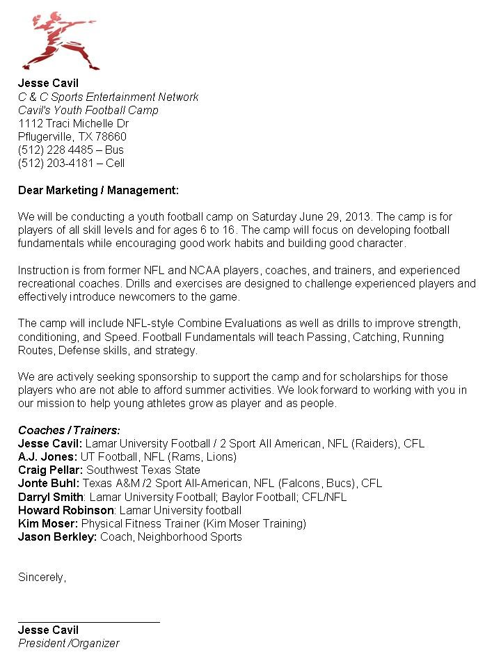 Event Sponsorship Letter Tips Tricks And A Template Sponsor Letter Camp Cavil Youth Football Events