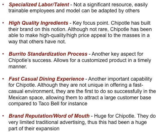 Internal Analysis Resources, Capabilities, and Activites - Chipotle