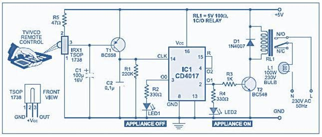 Remote Control for Home Appliances Circuit diagram - eceprojects