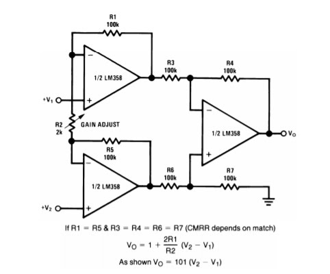 LabIV Op amp Signal-Conditioning Circuit for 3-Wire RTD Bridge