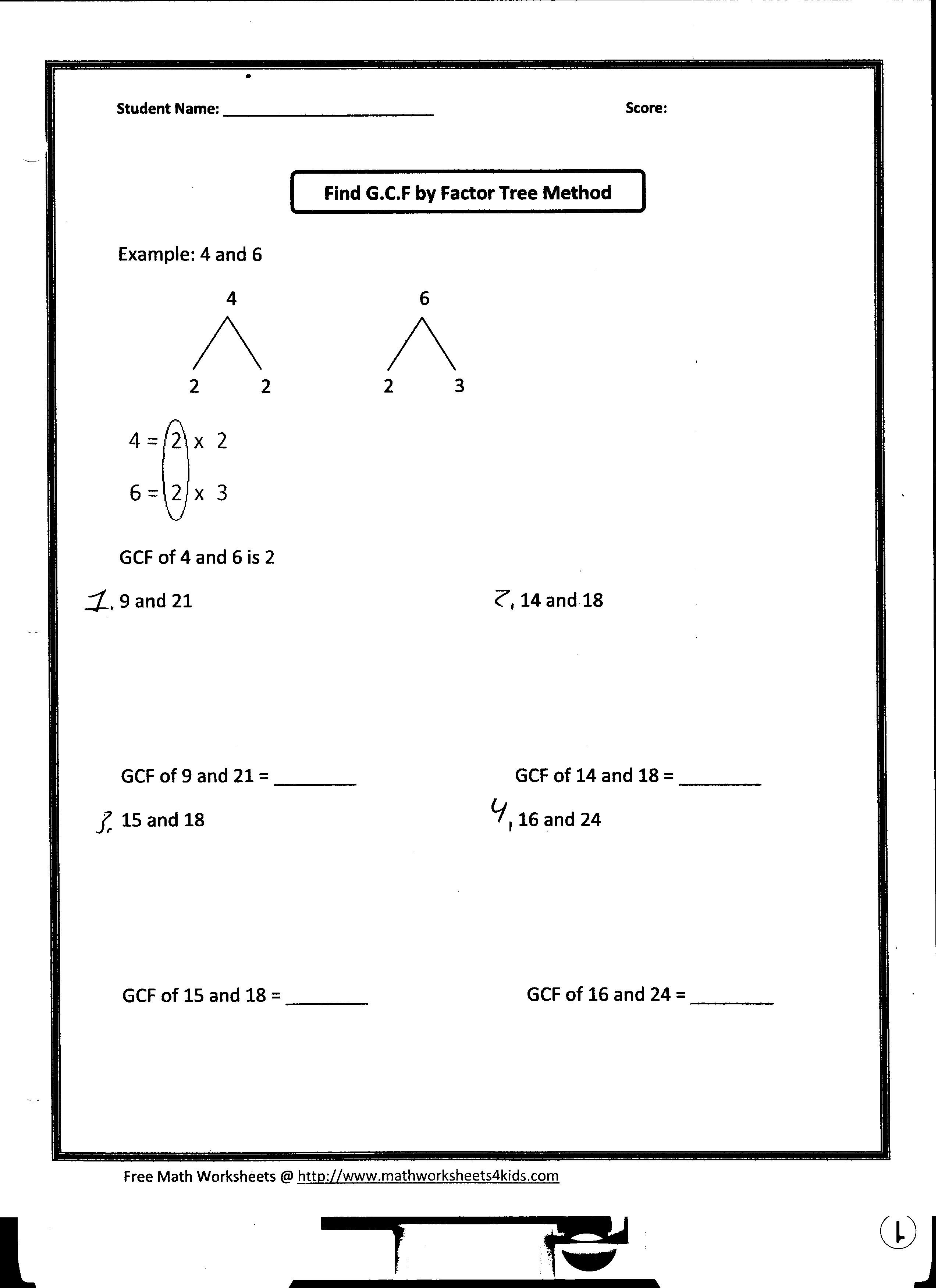 Find hcf worksheets – Gcf Math Worksheets