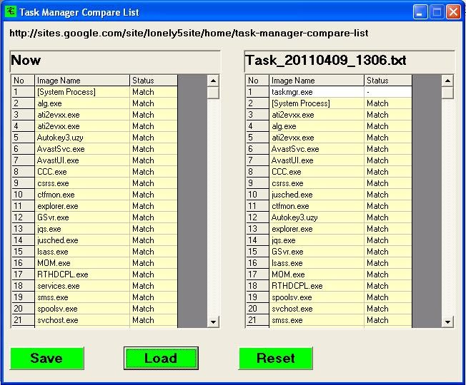 Task Manager Compare List - lonely5site - compare list