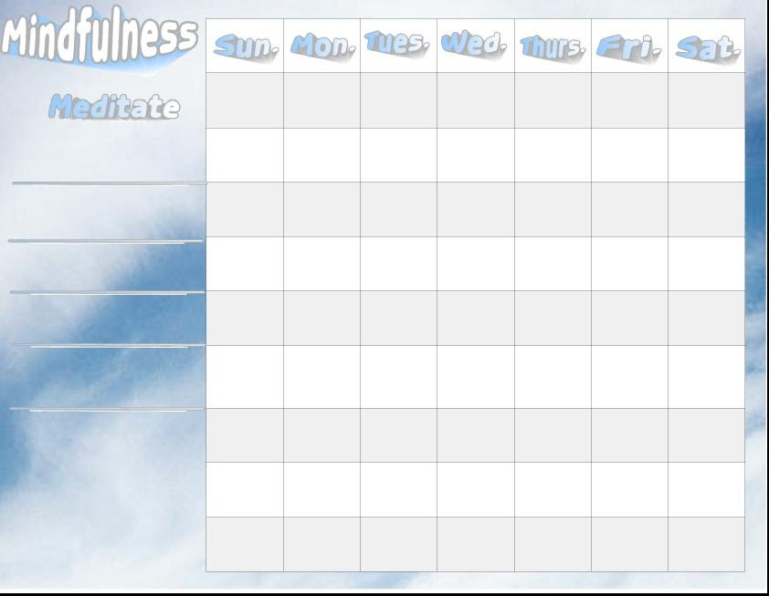 Mindfulness Activities daily checklist - One Page Perspectives - daily checklist