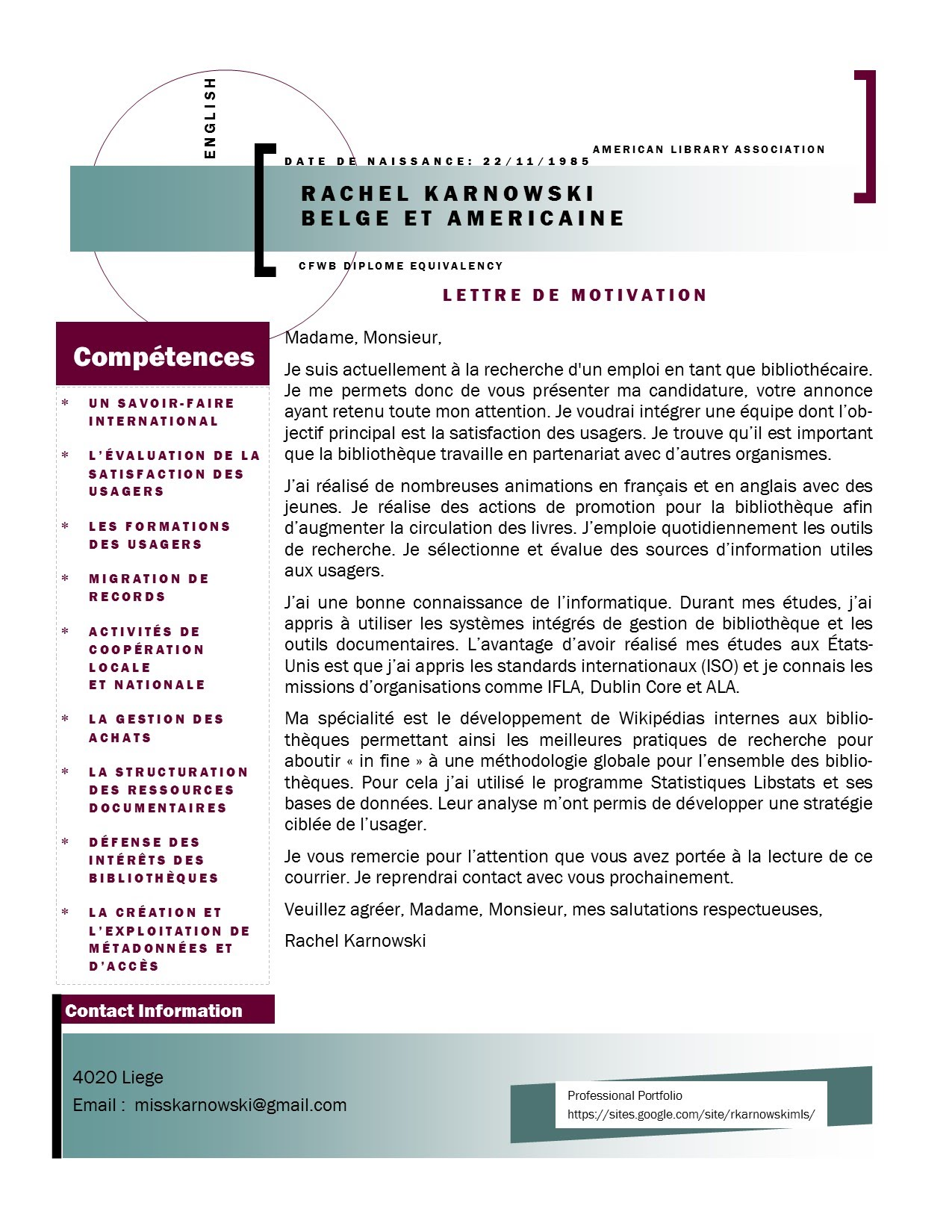 cv et lettre de motivation college