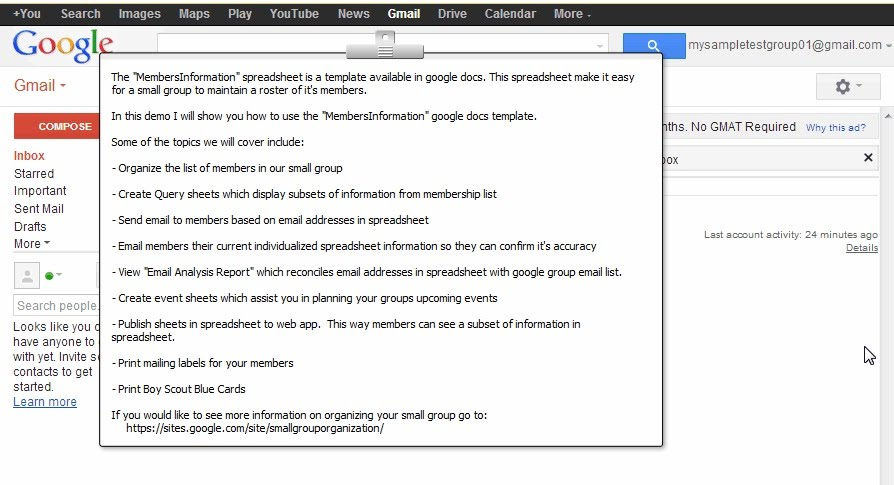 6) Organize your group with a Membership Spreadsheet - Small Group