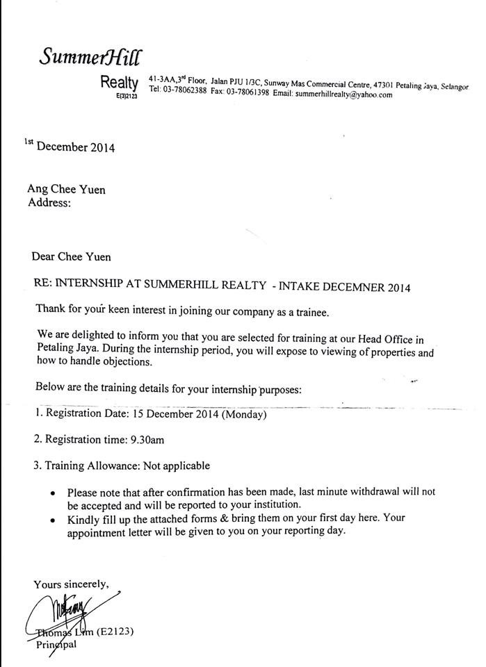 Appointment Letter (actual scan copy as attached below, thank you