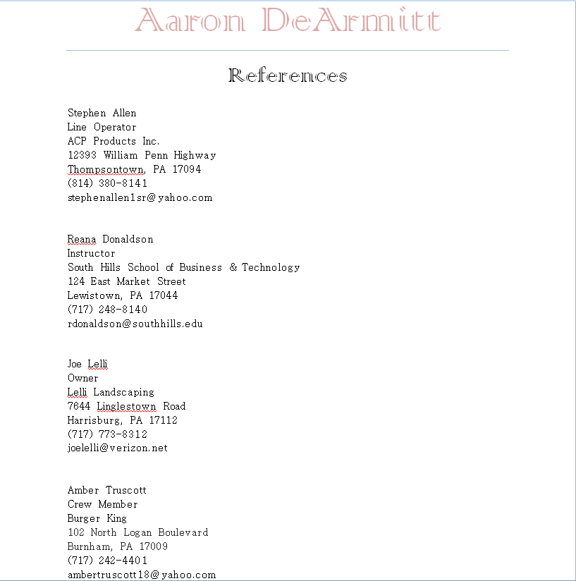 resume references upon request