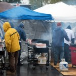 Rain didn't deter these volunteer cooks for the Military Appreciation tailgate at the Bryce Jordan Center. Military Appreciation Day, Penn State vs. Army, Oct. 3, 2015.
