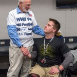 Army veteran and State College Area High School graduate Adam Hartswick, with World War II veteran John Young during the Military Appreciation tailgate at the Bryce Jordan Center. Military Appreciation Day, Penn State vs. Army, Oct. 3, 2015.