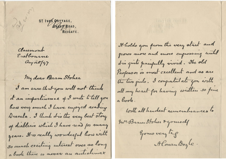 doIn this letter to Bram Stoker, Doyle expresses his admiration for - Admiration Letter
