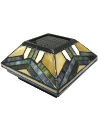 Stained Glass Solar Post Cap Lights - 4x4 or 5x5 Solar ...