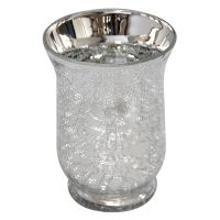 Silver Metal Crackle Hurricane Candle Holder 4x5-in - At Home