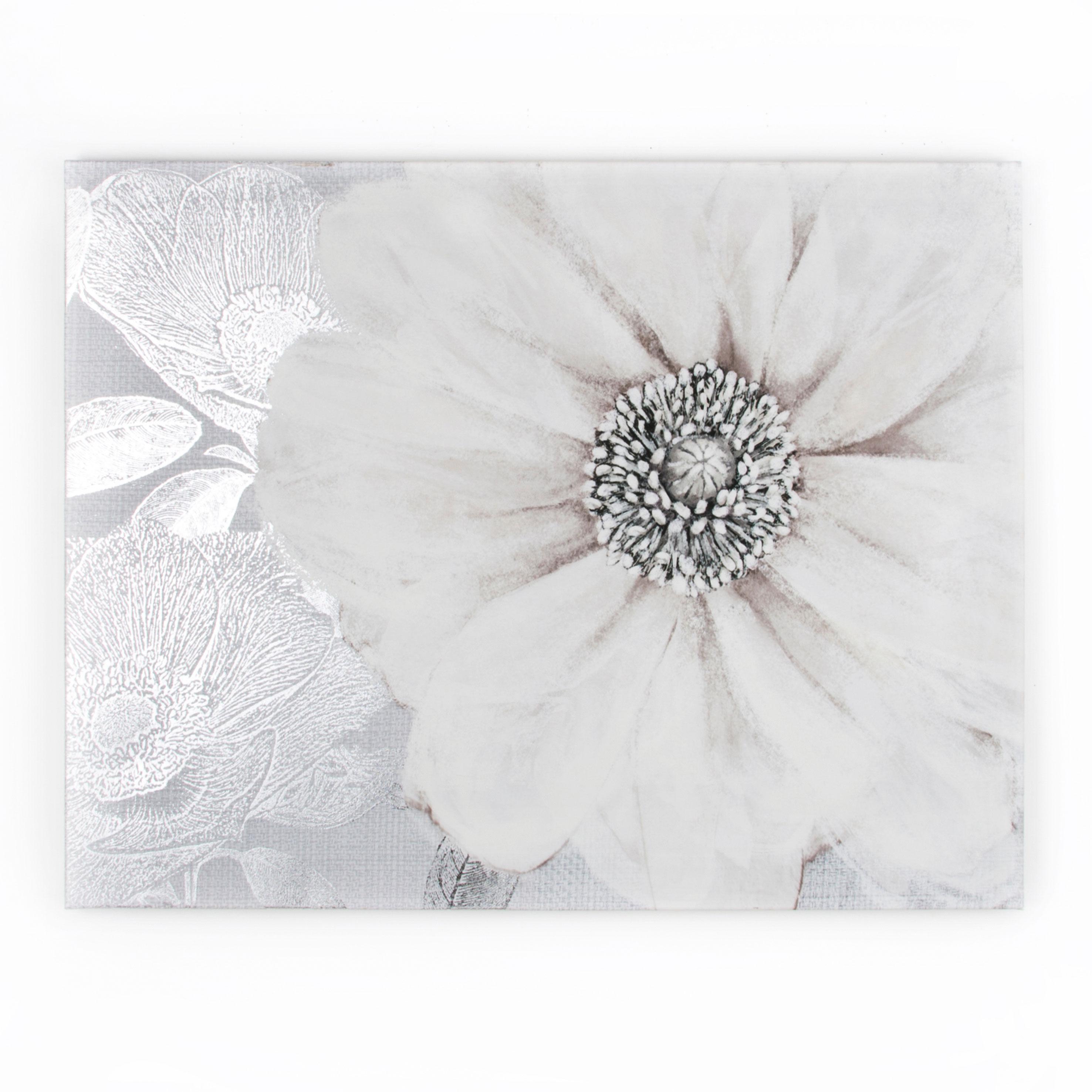 Grey Bloom Printed Canvas
