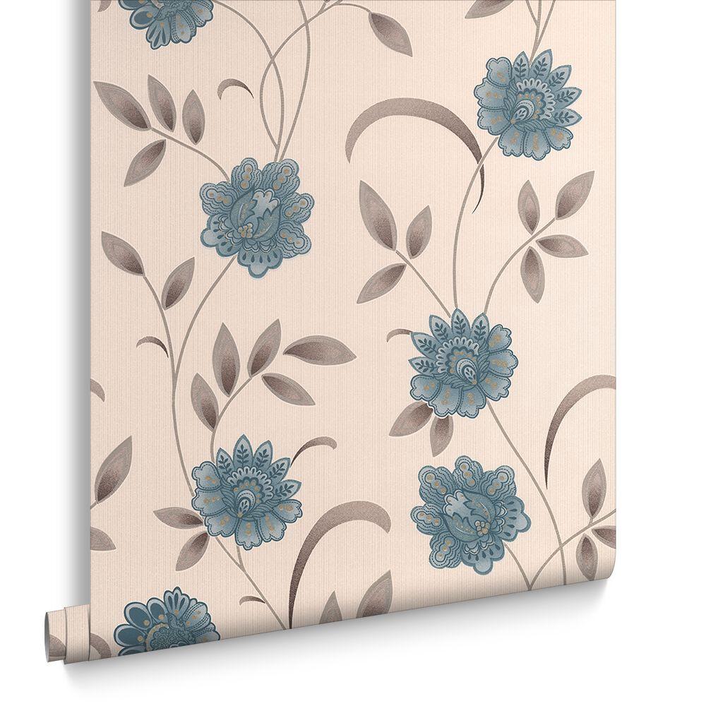 Sadie Teal and Cream Wallpaper | Graham & Brown