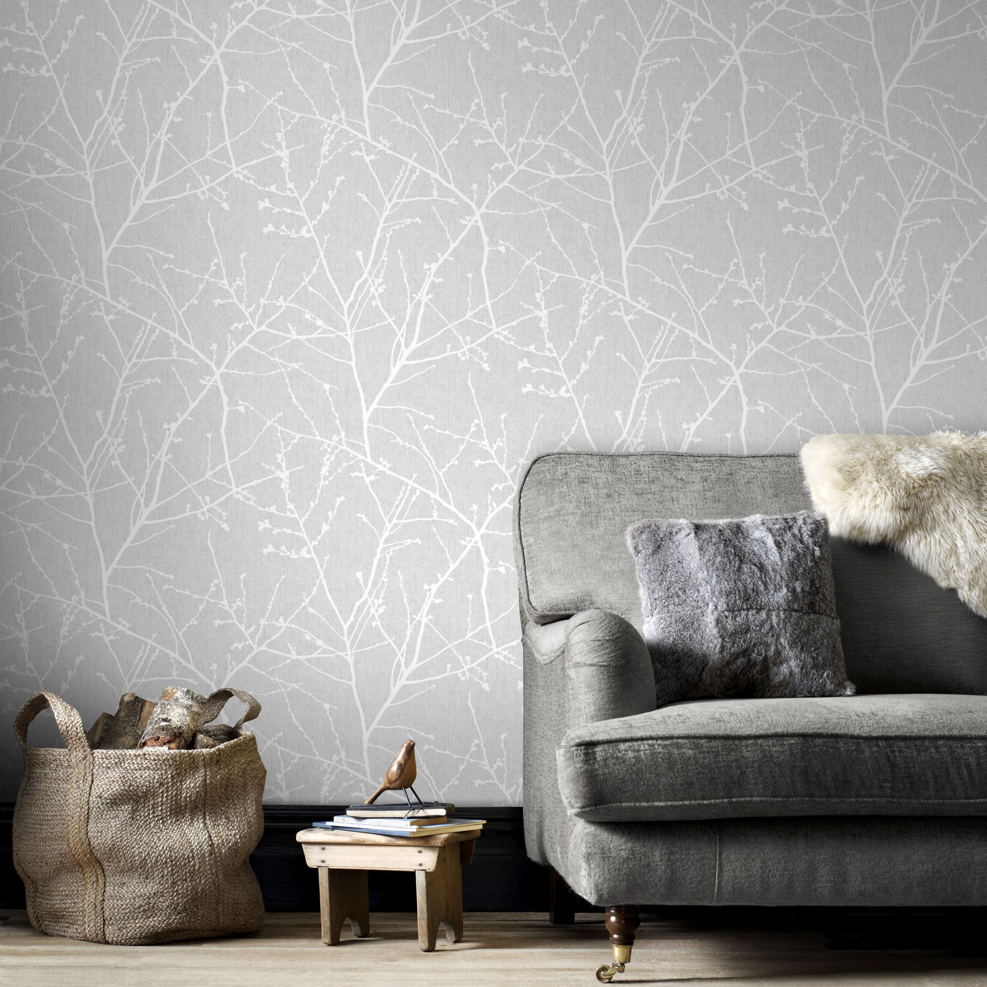 Ideeen Behang Woonkamer Innocence Grey Wallpaper Grey Pattern Wallpaper Graham