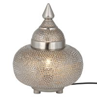 Silver Moroccan Patterned Table Lamp - GrahamBrownUK