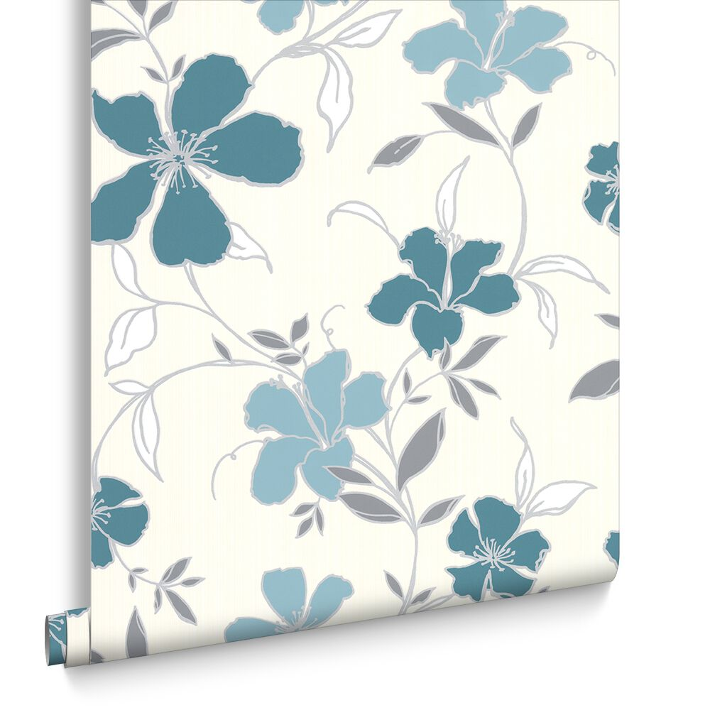 Rapture Teal and Silver Wallpaper | Graham & Brown