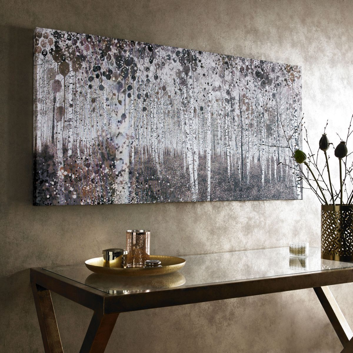 Neutral Watercolour Woods Printed Canvas