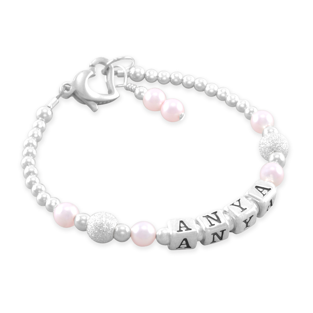 Six Sisters Beadworks Anya Cotton Candy Name Bracelet