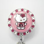 SIZZLE CITY Custom Retractable Rhinestone ID Badge Reels: Pink Hello Kitty RN