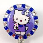 SIZZLE CITY Custom Retractable ID Badge Reels: Purple & Blue Flower Power Hello Kitty