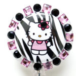 SIZZLE CITY Custom Retractable ID Badge Reels: Pink & Black Zebra Flower Hello Kitty