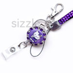 SIZZLE CITY Candy Purple Flower Power Custom Retractable Rhinestone ID Badge Reel & Lanyard Set