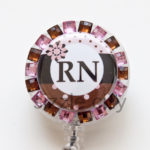 SIZZLE CITY Custom Rhinestone Retractable ID Badge Reels: Pink & Brown Striped RN