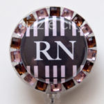 SIZZLE CITY Custom Rhinestone Retractable ID Badge Reels: Brown & Black Striped RN