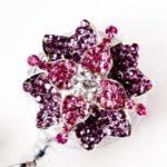 SIZZLE CITY Custom Rhinestone Retractable Pink & Purple Petal Bling Flower ID Badge Reel